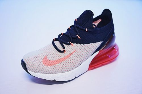 new product 21509 74910 Latest and Cheapest Women Nike Air Max 270 Flyknit Dark Blue Red White