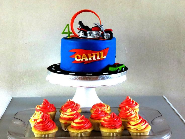 Hot Wheels Cake with Harley Davidson topper and flaming cupcakes