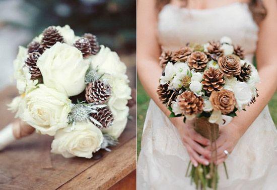 5 brautstrauss bilder ideen Piniennuss im winter hochzeit weiss rose Heiraten an Weihnachten – Ja oder Nein