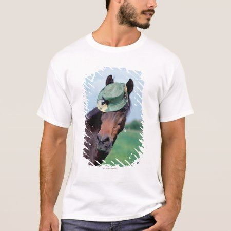 Close-up of a horse wearing a green hat T-Shirt - click/tap to personalize and buy