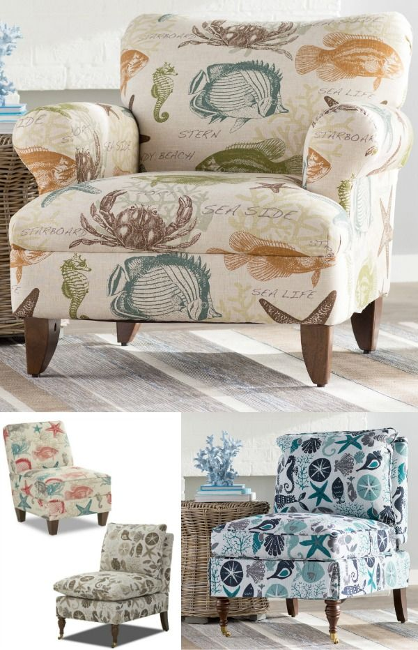 Upholstered chairs in coastal ocean fabric from Beachcrest Home, featured on Completely Coastal: http://www.completely-coastal.com/2017/04/coastal-upholstered-side-chairs.html