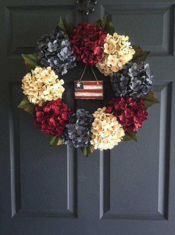 An Americana Decor ~ Patriotic Wreath for 4th of July celebrations. Hydrangea door wreath with vintage red, vintage white and an exclusive denim