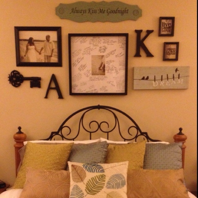 Headboard Wall Collage Love My Sign Bedroom Makeover