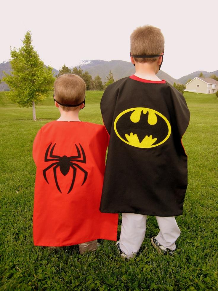 Reversible Batman Spiderman Halloween Costume Cape Boys Mask. $28.00, via Etsy.