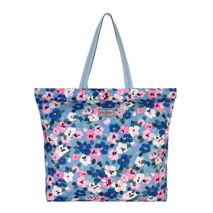 Large Painted Pansies Large Foldaway Tote | Foldaway Bags | CathKidston