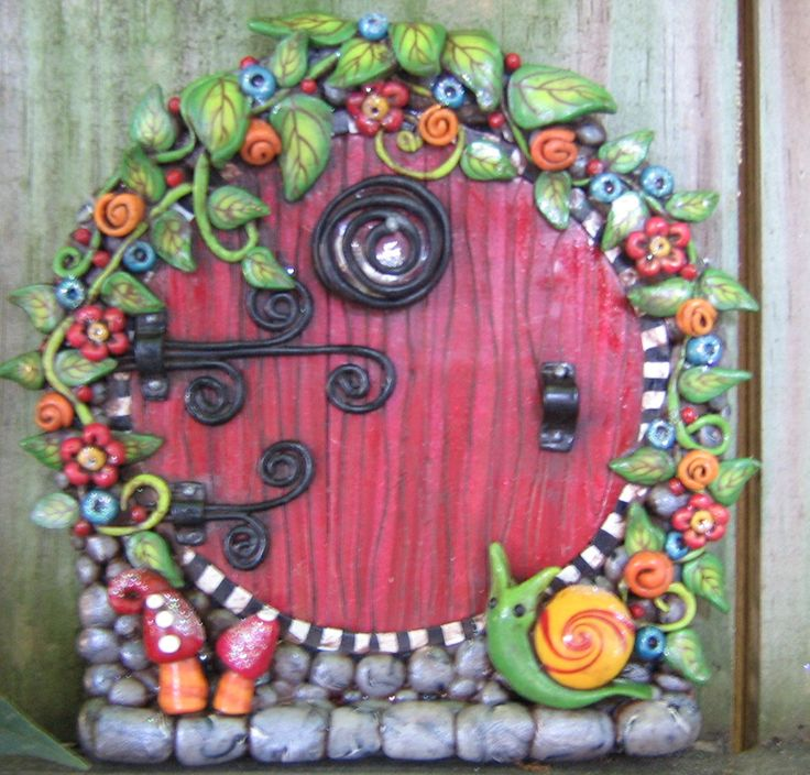 Red Rainbow Garden Fairy Door Pixie Portal - pinned by pin4etsy.com