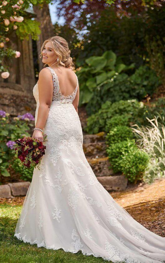 0b8220783281 D2534+ Plus-Size Lace Wedding Dress with High Neckline by Essense of  Australia