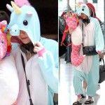 Miley Cyrus si veste da unicorno per andare in aeroporto