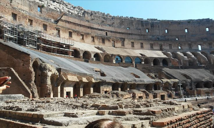 View of the incredible inside of the Colosseum of Rome.