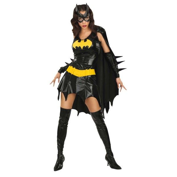 Bat Girl Costume - The perfect costume to fight crime and look good at the same tim. Our new Bat Girl ‪#‎Costume‬ is a great choice for any ‪‎fancy dress‬ occasion and is sure to catch some attention. Costume includes black dress with yellow bat label, cape, glove lets, eye mask, belt and boot tops.