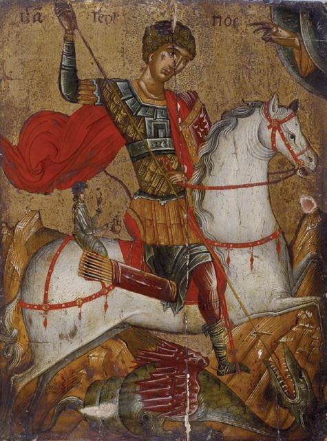 Post-Byzantine Artist (15th/16th century) Icon of St George slaying the Dragon A319; oil on panel; 42 x 31.8 cm.  Ashmolean Museum, Oxford.
