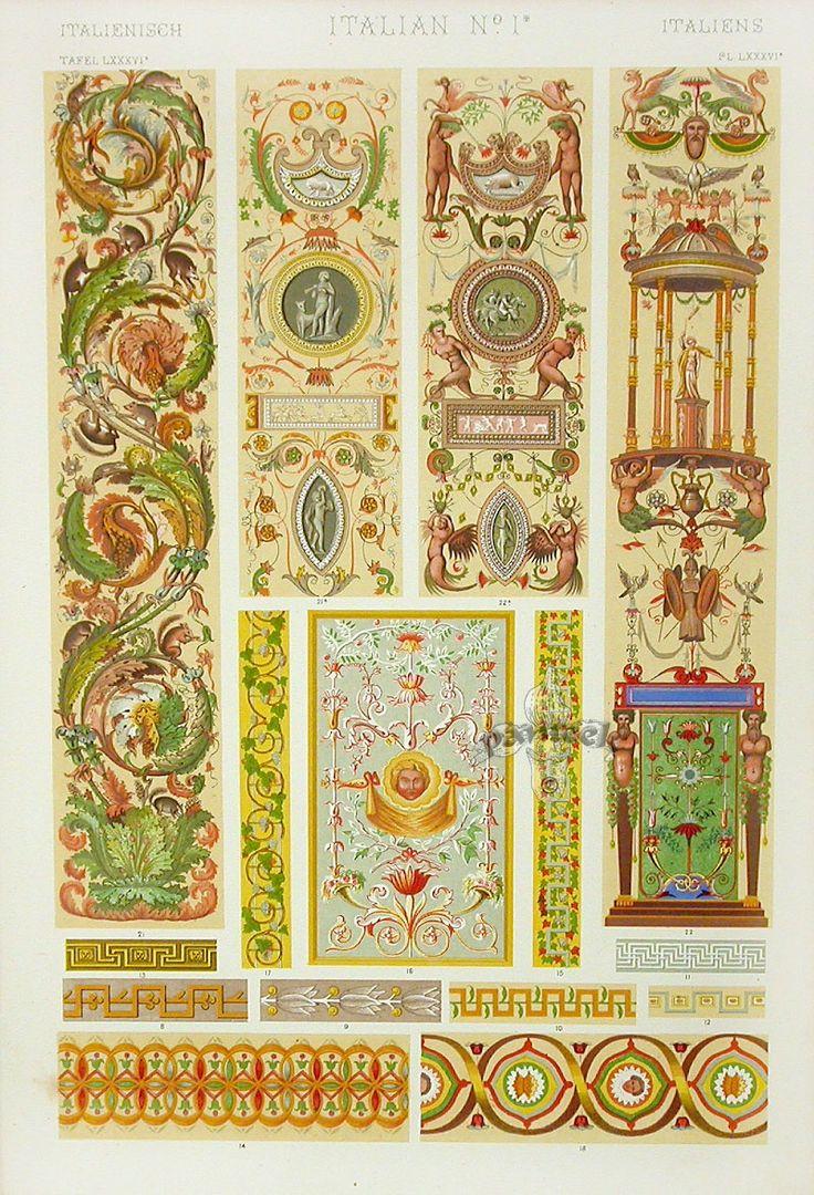 Italian ornaments - Antique Prints From Owen Jones The Grammar Of Ornament 1865