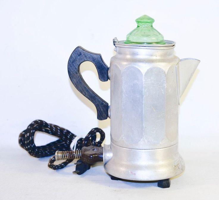 Antique Vintage Comet Aluminum Electric Percolator Coffee Pot Green Glass USA  #Comet