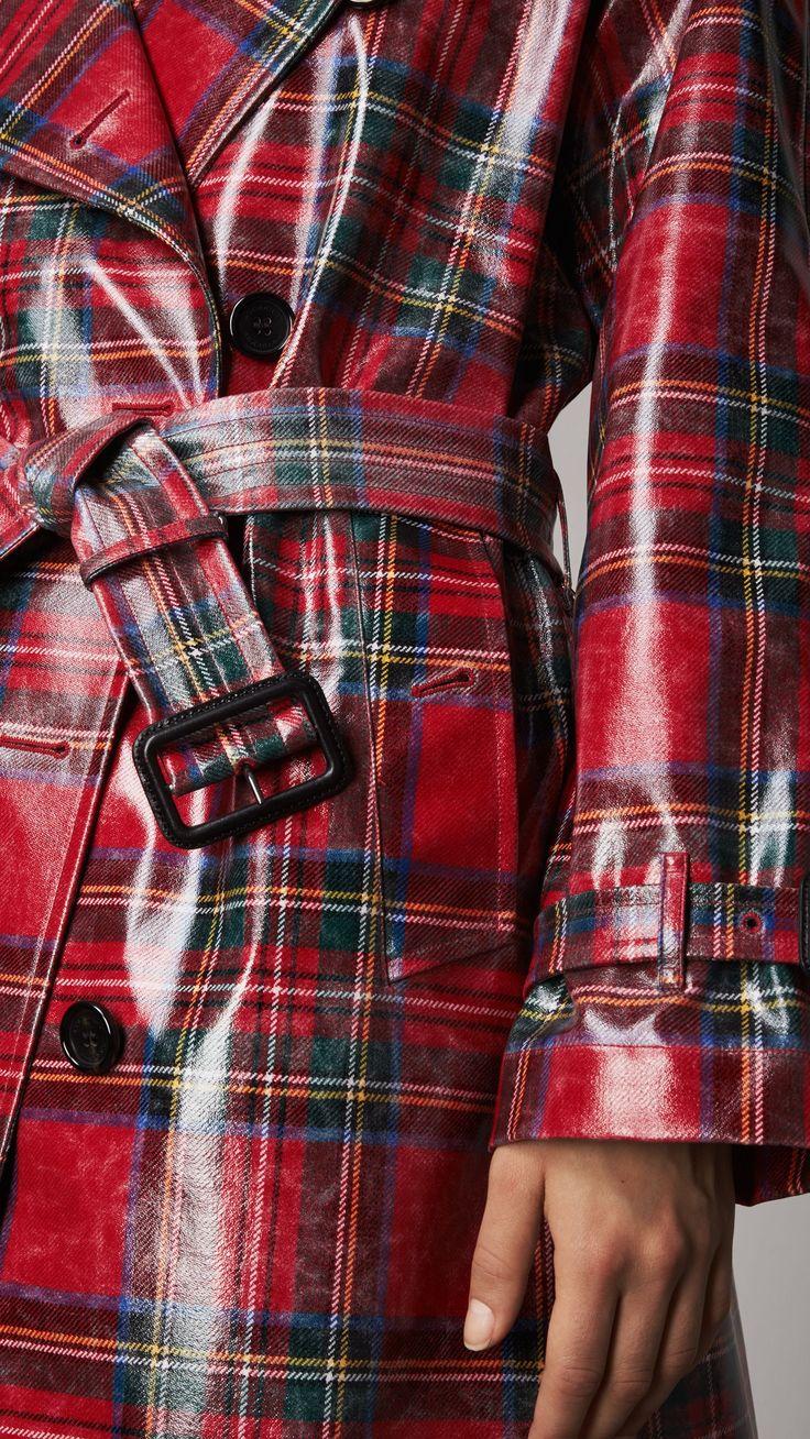 Laminated Tartan Wool Trench Coat in Bright Red - Women   Burberry United States #RaincoatsForWomenChic