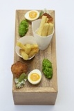 Your canapés milord - Fish and chips. pickled egg, mushy peas. From our head chef Matt Weedon's repertoire http://www.fallowfields.com/restaurant/our-fine-dining-menus/a-la-carte/
