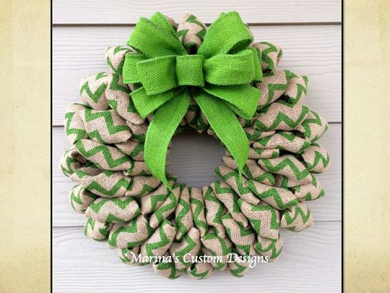Chevron Burlap Wreath, St Patrick's Day Wreath, Spring Summer & Fall Wreath, Christmas Wreath