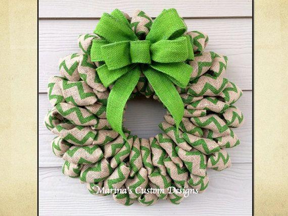 Chevron Burlap Wreath, St Patrick's Day Wreath, Spring Summer & Fall Wreath, Christmas Wreath