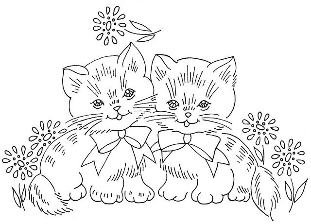 Two Kittens 2 By Love To Sew Via Flickr Click Here Download Vintage Halloween Comic Tags