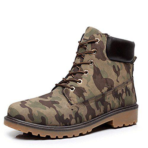 Sun Lorence Men Casual Martin Platform Boots Military Cargo Short Boots Camo 45