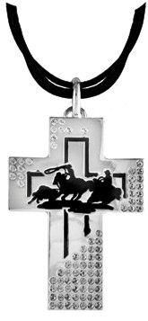 "(TBNC1035TR) ""Team Roper"" Silver & Black Cross Necklace"