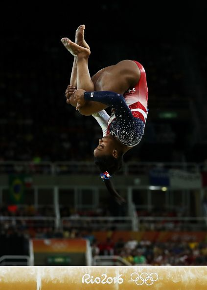 #RIO2016 Simone Biles of the United States competes on the balance beam during the Artistic Gymnastics Women's Team Final on Day 4 of the Rio 2016 Olympic...
