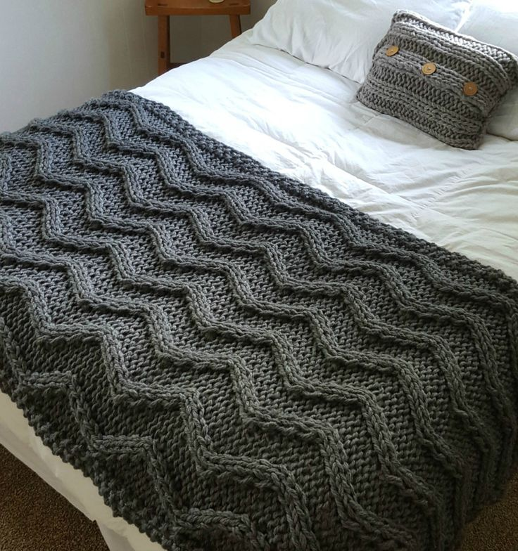Knitting Pattern for Chevron Cable Blanket - Big braided cables framed by knit and purl stitches in super bulky yarn make this a fast heirloom afghan. Approximately 42 x 80 inches. Designer rates the pattern as easy.