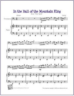 In the Hall of the Mountain King | Free Sheet Music for Trombone - http://makingmusicfun.net/htm/f_printit_free_printable_sheet_music/in-the-hall-of-the-mountain-king-trombone-solo.htm