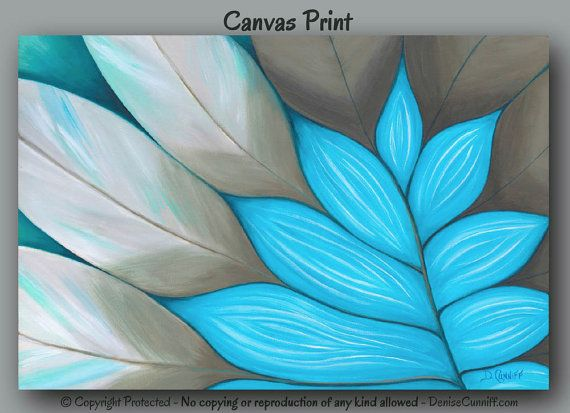Canvas art print for teal or tiffany blue and taupe bedroom decor by Denise Cunniff - ArtFromDenise.com. View more info at https://www.etsy.com/listing/195742246/large-wall-art-taupe-and-teal-abstract