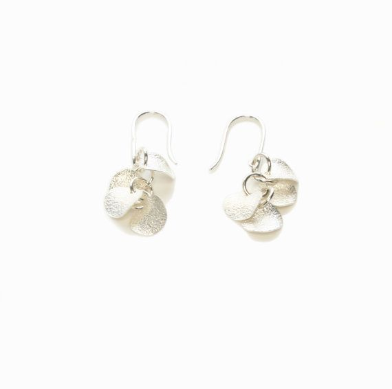 Sterling Silver 1-in-1 Chainmaille Earrings with 8 Textured Discs