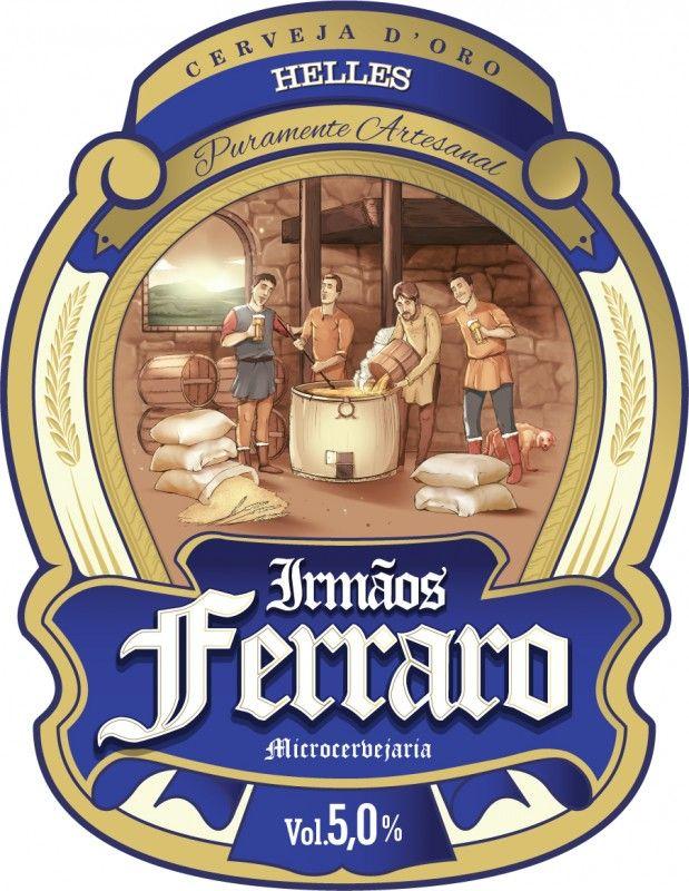 Cerveja Irmãos Ferraro D'Oro Helles, estilo Munich Helles, produzida por Microcervejaria Irmãos Ferraro, Brasil. 5% ABV de álcool.