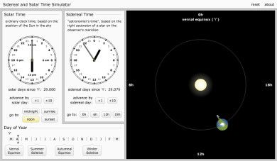 Sidereal and Solar Time Simulator
