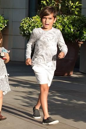 Mason Disick wearing Akid Liv Slip-Ons in Black Embossed Leather