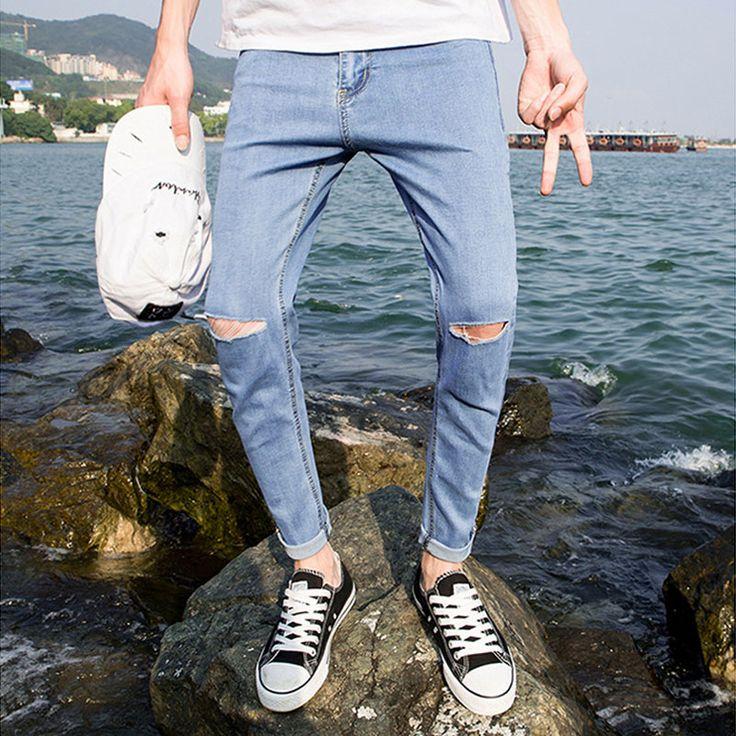 2017 de Moda de Verano Pantalones Vaqueros Rasgados Pantalones Hombres Camiseta Slim Fit Flaco Stretch Jeans Negro Macho Delgado Corte Jeans Lápiz tobillo-Longitud