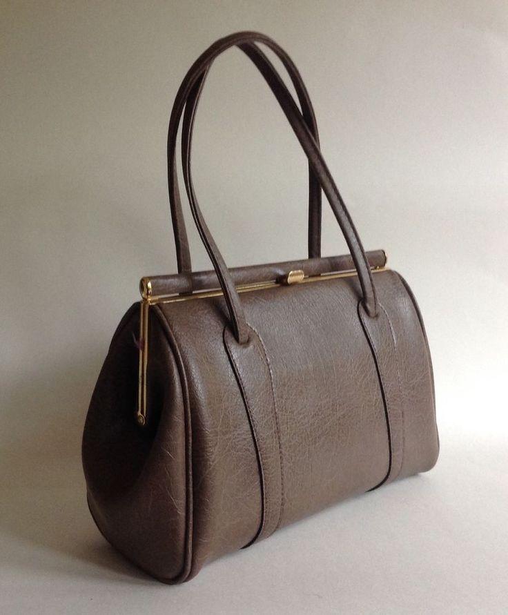 Mushroom Colour Faux Leather Fabric Lining 1960s Kelly Vintage Handbag Mad Men  | eBay