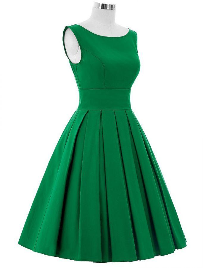 1950s Vintage Style Elegant Pleated Swing Dress - Green