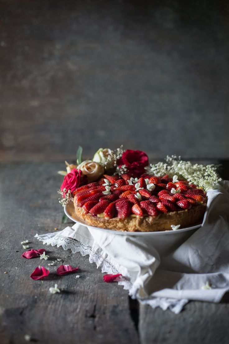 Strawberry Rose Cake with Almond Custard | Hortus Natural Cooking