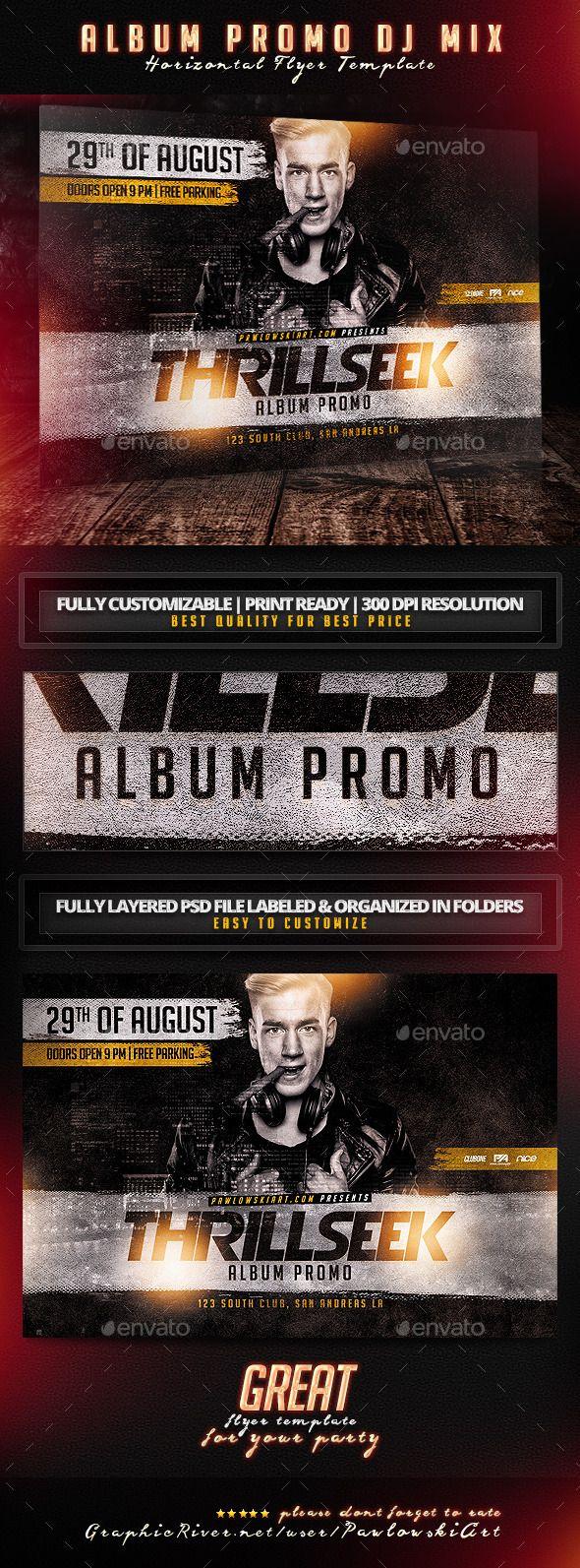 Album Promo DJ Mix Horizontal Flyer Template - Concerts Events