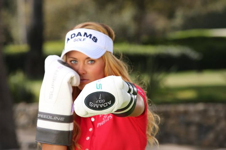 LPGA Tour player Kathleen Ekey used her Adams Golf Super S driver and fairway wood headcovers as boxing gloves during a photoshoot. Watch out for that left jab!