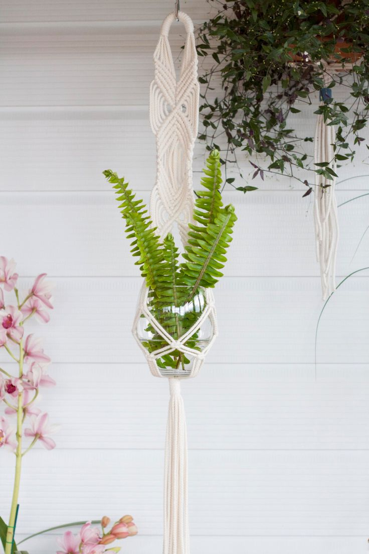 Macrame Plant Hanger // Indoor Planter // Hanging Planter // Air Plant Hanger // Wall Hanging // Natural Cotton // Cross Duo by KnottyBloom on Etsy https://www.etsy.com/listing/237499154/macrame-plant-hanger-indoor-planter