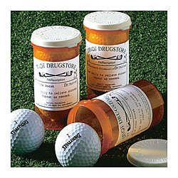 Personalized Par-Scription Golf Ball Set.  So cute!  Suggest to pharmacy for sponsorship idea?