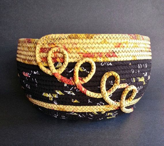 Sun Spiral large fabric basket by JKTextileArts on Etsy ♡