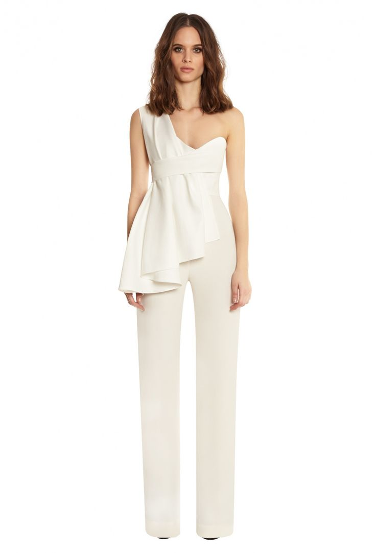 This would be perfect for a reception change. Tosso One Shouldered Flared Leg Jumpsuit · White · AQ/AQ