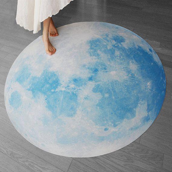 Full Moon picnic-mat, BLUE MOON WALTZ (interior rug, picnic-mat -135cm / 53inch) on Etsy, $169.00