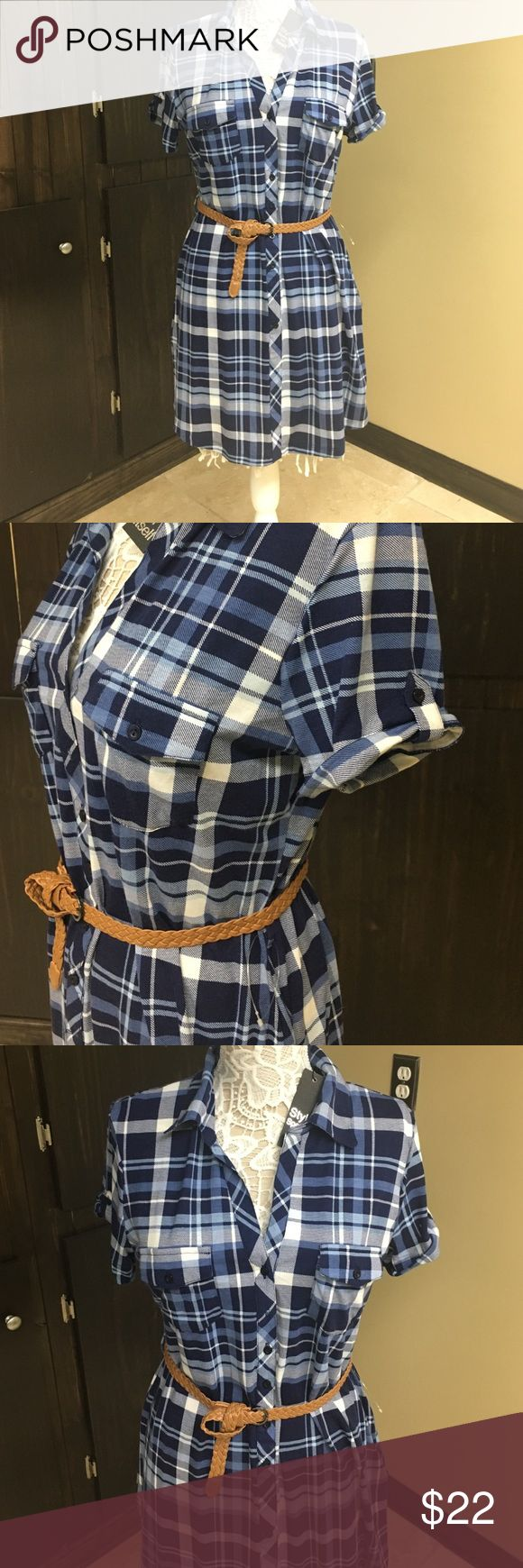 Brand new belted plaid shirt dress! Belt included Super soft and cozy belted shirt dress! Size XL junior could fit a medium adult! Dresses Midi