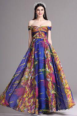 Dressit Auf Schulter Vielfarbig Sommer Gedrucktes Kleid  (X07151705) Wie zeitlos wie die atemberaubende Drucke ist, können Sie einfach dieses schönen Sommer Aussehen erhalten