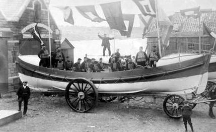 Old photograph of the lifeboat in Montrose, Angus, Scotland