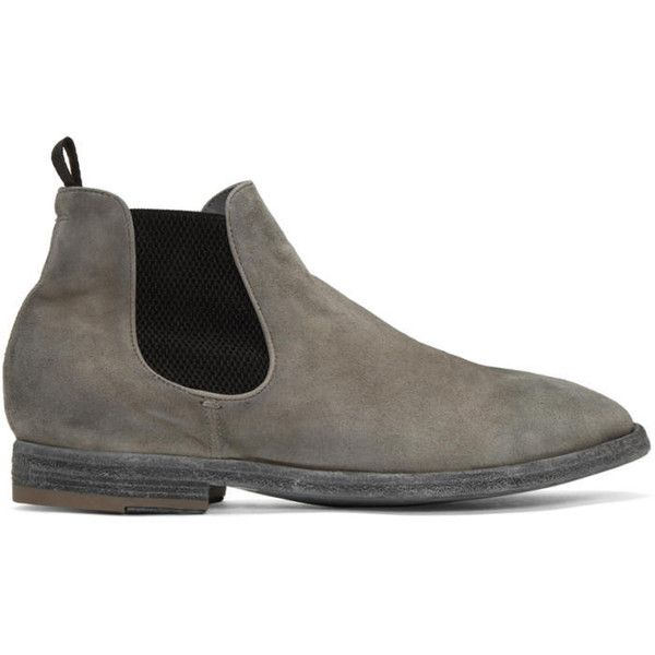 Officine Creative Grey Suede Princeton 47 Chelsea Boots ($406) ❤ liked on Polyvore featuring men's fashion, men's shoes, men's boots, grey, mens leather sole shoes, mens suede chelsea boots, mens round toe shoes, mens grey chelsea boots and mens round toe cowboy boots