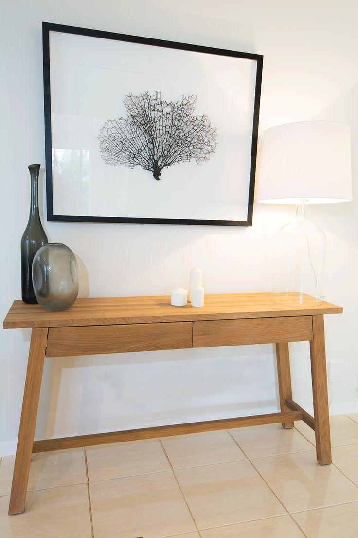 Timber Console with beautiful Coral art studioldm.com.au