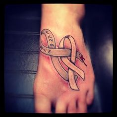 Double cancer ribbon tattoos double ribbon tattoo love for Blood drop tattoo