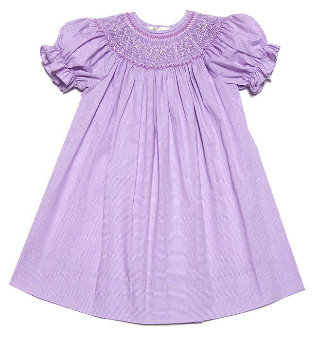 Rosalina Girls Purple Micro Checks English Smocked Bishop Dress